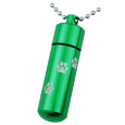 Green pet urn cylinder shown engraved with paw print trail and ball chain