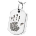 Silver Dog Tag Handprint Jewelry with compartment
