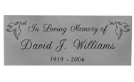 Wholesale Engraved Memorial Plaque Large Silver Finish Black Fill in script