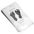 2 Baby Feet Footprints Sterling Silver Money Clip
