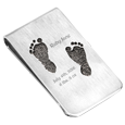 personalized money clip with baby foot prints
