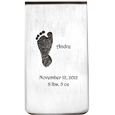 front view of sterling silver personalized money clip for newborns