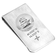 Photo Engraved Money Clip with boat and coordinates