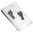 two baby fooot prints engraved on to money clip