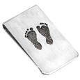 footprints engraved onto money clip