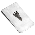 baby foot engraved on sterling silver money clip