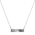 2 paw prints engraved onto classic bar pendant necklace
