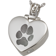 Wholesale Pet Print Cremation Jewelry: Heart Filigree Bail Actual Pawprint