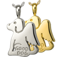 Wholesale Pet Cremation Jewelry Good Dog shown in silver and gold
