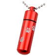 Red memorial urn jewelry shown engraved with paw print trail and ball chain