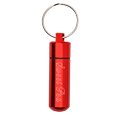 Red memorial urn jewelry keepsake keychain shown engraved with pet name