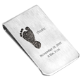 Baby Footprint Money Clip personalized with name, date and weight