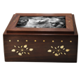 Front of Wholesale Photo Wood Cat Urn Slider shown
