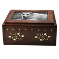 Front shown of Wholesale Photo Wood Dog Urn Chest with metal photo plaque