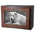 Wholesale Photo Wood Dog Urn Slider shown engraved on top of urn