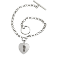 Toggle Bracelet with petite heart with foot print