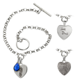 Sterling Silver Toggle Bracelet with Personalized Petite Heart