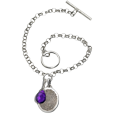 fingerprint charm and birthstone toggle bracelet
