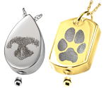 pawprint and noseprint ash holding pet pendants