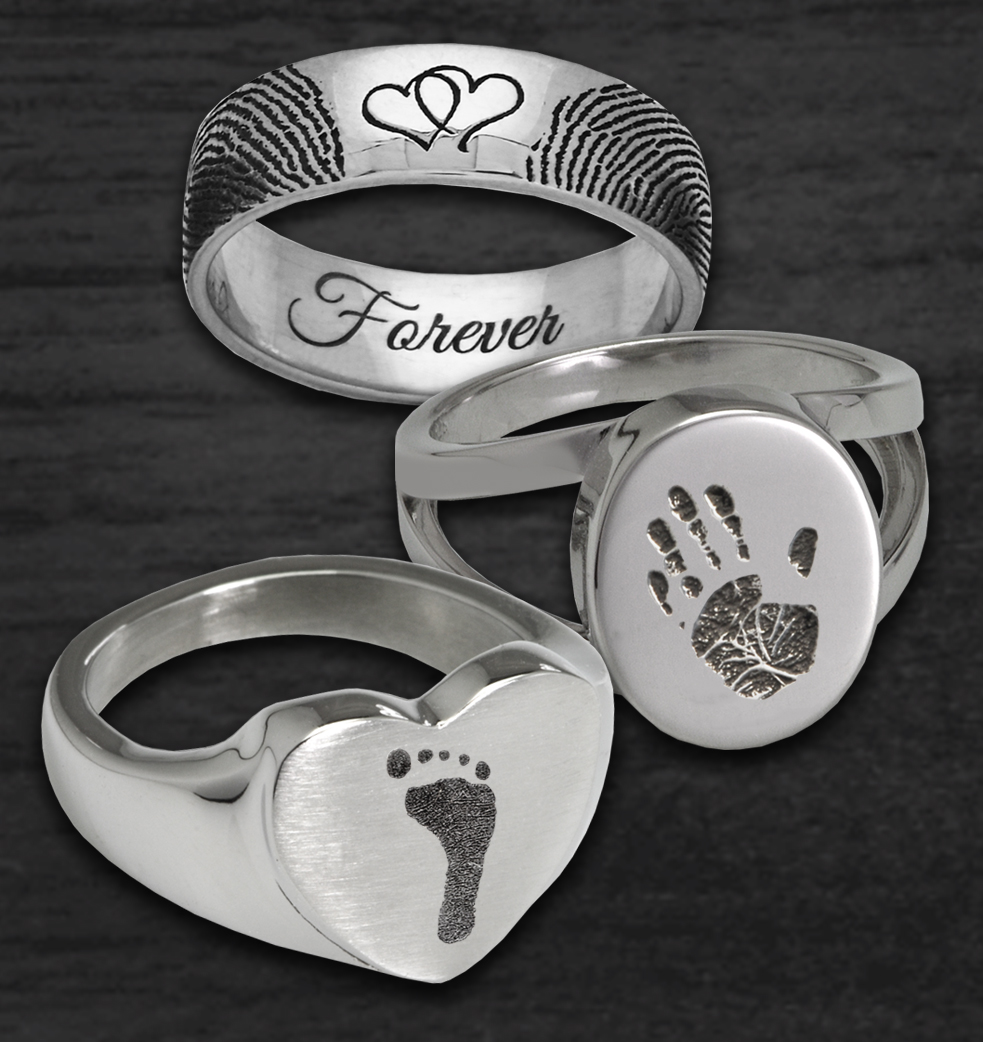 Fingerprint, Handprint and Footprint Jewelry Rings