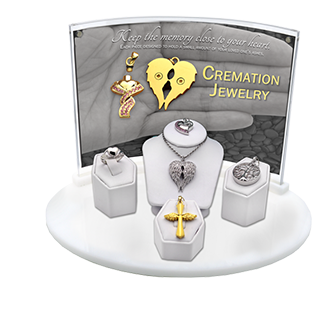 5-piece cremation jewelry display